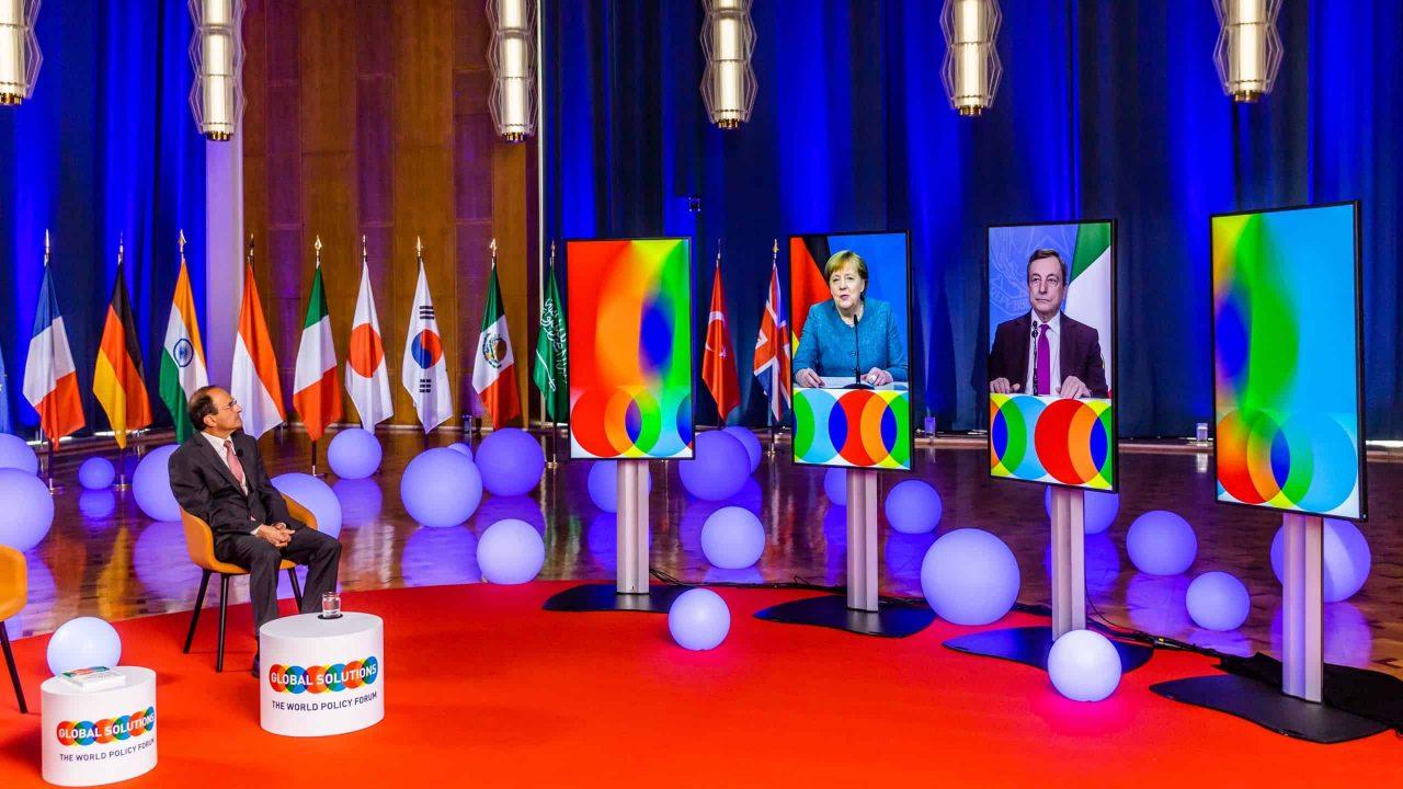 Dennis J. Snower, Angela Merkel and Mario Draghi (Credits: Rolf Schulten)